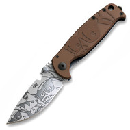 "DPx HEST/F MR.DP DPHSF123 Folding Knife, 3.25"" Plain Edge Elmax Blade, Brown G-10 and Titanium Handle"