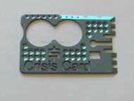 Mike Snody Custom Knives Solid 6AL4V Titanium Crisis Card, Blue