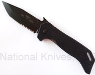 "Emerson Knives ETAK B BTS Folding Knife, Black 3.9"" Partially Serrated 154CM Blade, Black G-10 Handle, Emerson ""Wave"" Opener"