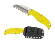 "Spyderco Enuff Sheepsfoot Salt FB31SYL Fixed Blade Knife, 2.75"" Serrated Edge H1 Blade, Yellow FRN Handle, Sheath"