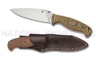 "Spyderco Temperance 2 FB05P2 Fixed Blade Knife, 4.875"" Plain Edge Blade, Leather Sheath"