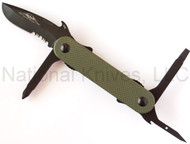 "Emerson Knives Multitasker EDC-2 Multitool, Black 2.6"" Partially Serrated 440C Blade, Olive Drab G-10 Handle"