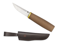 "Spyderco Puukko FB28GBNP Fixed Blade Knife, 3.375"" Plain Edge Blade, Brown G-10 Handle, Sheath"
