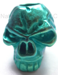 "Schmuckatelli Emerson Titanium Skull Bead ETIG, 3/16"" Hole, Green Anodized"