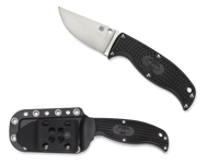 "Spyderco Enuff Clip Point FB31CPBK Fixed Blade Knife, 2.75"" Plain Edge Blade, Black FRN Handle, Sheath"