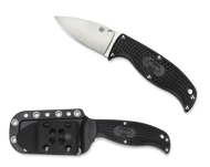 "Spyderco Enuff Leaf FB31PBK Fixed Blade Knife, 2.75"" Plain Edge Blade, Black FRN Handle, Sheath"