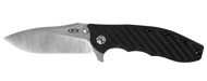 "Zero Tolerance ZT 0562CF Flipper Folding Knife, 3.75"" Plain Edge Blade, Black Carbon Fiber and Titanium Handle"