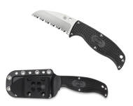 "Spyderco Enuff Sheepsfoot FB31SBK Fixed Blade Knife, 2.75"" Serrated Edge Blade, Black FRN Handle, Sheath"