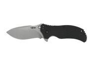 "Zero Tolerance 0350SW Assisted Opening Knife, Stonewashed 3.25"" Plain Edge Blade, Black G-10 Handle"