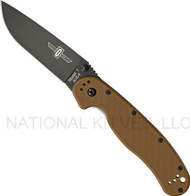 "Ontario RAT 1 O8846CB Folding Knife, Black 3.625"" Plain Edge Blade, Coyote Brown Handle"
