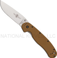 "Ontario RAT 1 O8848CB Folding Knife, Satin 3.625"" Plain Edge Blade, Coyote Brown Handle"