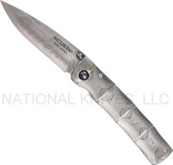 "Mcusta Take MC-33D Damascus Folding Knife , 2.8"" Plain Edge Damascus Blade"