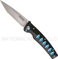 "Mcusta Katana MC-41C Folding Knife, 3.44"" Plain Edge Blade, Black and Blue Aluminum Handle"