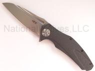 "Zero Tolerance T 0777-M390 Limited Edition Folding Knife, 4"" Plain Edge Blade, Black Carbon Fiber Handle"
