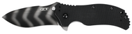 "Zero Tolerance 0350TS Assisted Opening Knife, Tiger Striped 3.25"" Plain Edge Blade, Black G-10 Handle"
