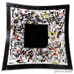 Glass plate - Black Abstract - 22x22cm