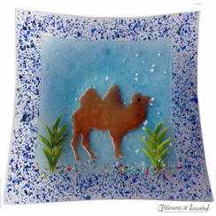 Glass plate - Camel - 30x30cm