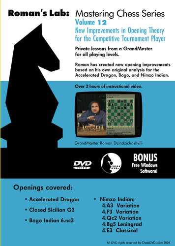 Roman's Lab 12: New Improvements in Opening Theory - Chess Opening Video DVD
