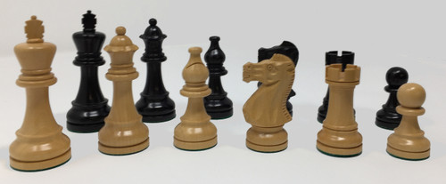 """Duke Chess Pieces in Black Lacquer with 3.75"""" King"""