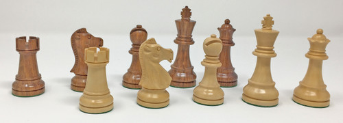 """Baron Chess Pieces in Golden Rosewood with 3.75"""" King"""