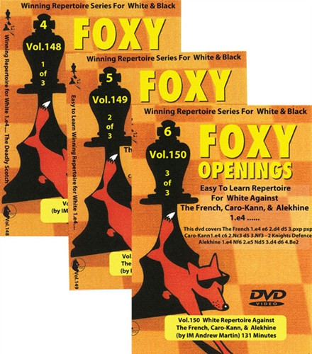 Foxy 148-150: A Winning White 1.e4 Repertoire (3 DVDs) - Chess Opening Video DVD