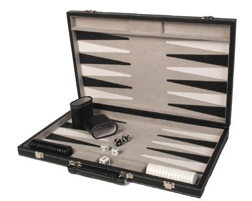 "Backgammon Set, 18"" Black Leatherette Attache"