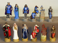 King Arthur's Court Painted Resin Chess Set: Cherry Stained Chest Bronze/Silver Chess Board