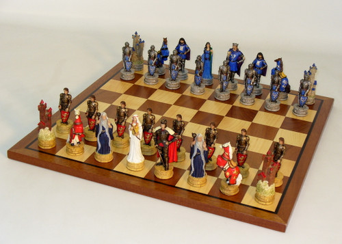 King Arthur's Court Painted Resin Chess Set: Sapele/Maple Chess Board set