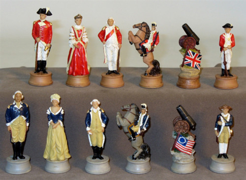 American Revolution Chess Set Red/White Framed Chess Board