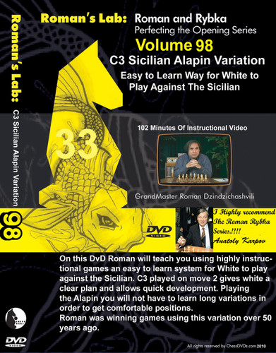 Roman's Lab 98: The 2.c3 Sicilian, Alapin Variation - Chess Opening Video DVD