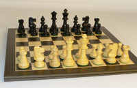 French Knight Boxwood Chess Pieces with Board