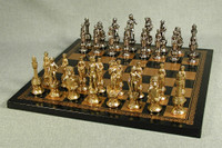 "Florence Metal Chessmen 3.25"" King: Pressed Leather Chest 1.25"" Square"