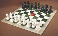 Chess Set: Alabaster Chess Pieces on a Green and White Chess Board