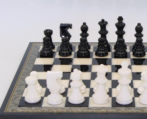 Alabaster Chess Set Black and White Inlaid Wood1