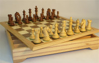 Golden Rosewood Camelot Chess Pieces and Chess Board with Chest