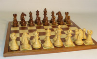 Chess Set: Golden Rosewood Mustang on Sapele/Maple Chess Board