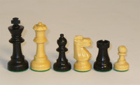 Canillo - Black and Natural Boxwood with a French Knight Chess Pieces