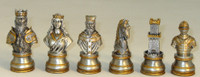 Solid Pewter Camelot Chessmen, Golden and Bronze
