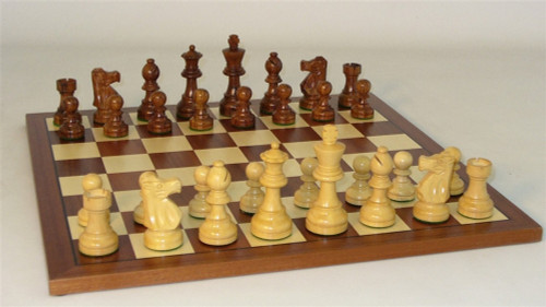 Golden Bordeaux Chess Set - Chess Pieces and Matching Chess Board