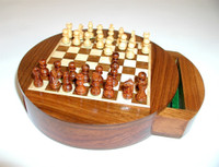Golden Rosewood Inlaid Chess Set - Chess Pieces and Matching Chess Board