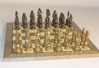 Casoria-Metal Chess Set - Chess Pieces and Matching Chess Board