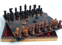 Alabaster Chess U0026 Checkers Set In Inlaid Wood Chest, Chess Set   Chess  Pieces,