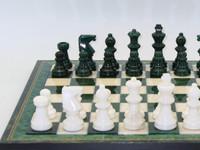 """Alabaster set, inlaid wood frame, Green/White, 3"""" King1"""