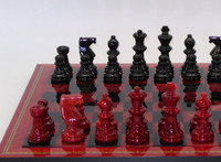 Alabaster Chess Set Black and Red with Wood Framed Board1