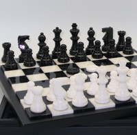 Alabaster Chess & Black and White with Wood Framed Board1