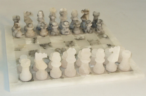 The Drachen - Grey and White Alabaster Chess Set