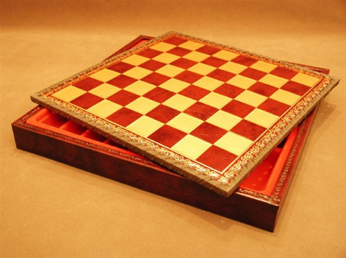 "Chess Board Pressed Leather on Wood 1"" ww1-218GR"