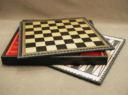 "Chess Board Pressed Leather on Wood 1.25"" ww1-219GN"