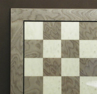 "Grey Briar and Ivory Glossy Chess Board, frame w/stripe, 1.25"" Squares"