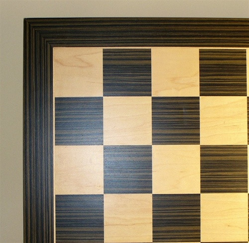 "Ebony and Maple Veneer Chess Board, 1.5"" squares"